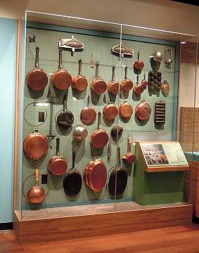Julia's cookware on display in the Museum