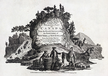"""Fur traders in Canada, from """"A map of the inhabited Part of Canada from the French Surveys,"""" by William Fadden, 1777"""
