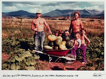 Harvesting pumpkins on the Law Farm, Truchas, New Mexico, 1975