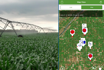 Hunnicutt uses field moisture sensors and a computer control to determine the control of the irrigation system. This data helps conserve water, only using the amount needed to turn the dry Nebraska plain in productive farm fields.