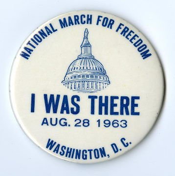 The button was made to commemorate participation in the 1963 March on Washington for Jobs and Freedom, which John Lewis helped organize and where he was a featured speaker.