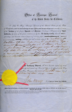 U.S. land grant approval, 1854