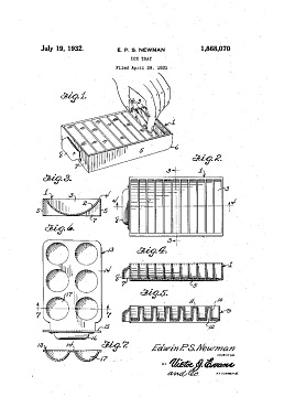 U.S. Patents granted for ice trays, 1930s-1940s