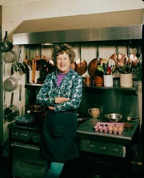 Julia Child in her home kitchen, 1975