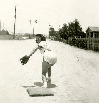 Carmen Lujan on base, 1936