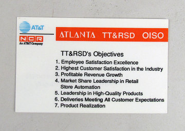 Mission statement wallet card, AT&T and NCR, around 1995