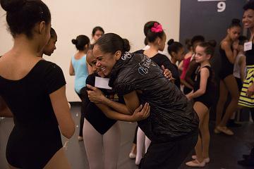 Misty Copeland meeting students in the American Ballet Theatre's Project Plié Bridge Class