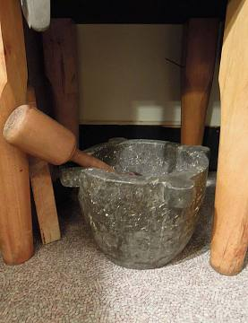 Large soapstone mortar and wooden pestle