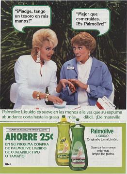 Bilingual flyer for Palmolive detergent, 1980s