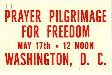 Decal from the Prayer Pilgrimage For Freedom that occurred at the Lincoln Memorial on May 17th, 1957, organized in part by Bayard Rustin.