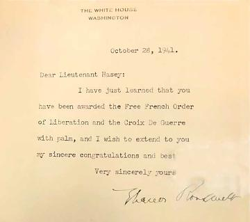 First Lady Eleanor Roosevelt's congratulatory letter to Lt. John Hasey