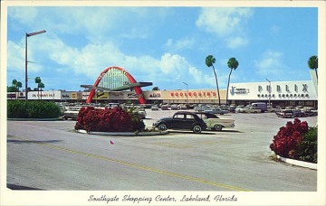 Shopping center postcard, about 1960