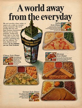Ad for International TV Dinners, 1968