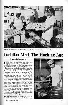 """""""Tortillas Meet the Machine Age"""" Popular Mechanics, 1950"""