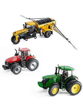 Scale model of a John Deere 7290R tractor, a Case IH Magnum 380 tractor, and an Agco TerraGator high-flotation dry applicator