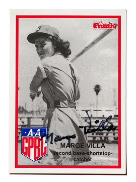 Marge Villa baseball card for the AAGPBL's Kenosha (Wisconsin) Comets, issued 1995