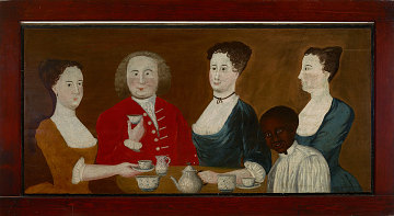 Wealthy New England family with enslaved youth, about 1740