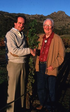 Warren Winiarski and Nathan Fay in the Fay vineyard, about 1986