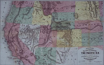 """Williams' New Trans-Continental Map of the Pacific R.R. and Routes of Overland Travel …,"" 1877"