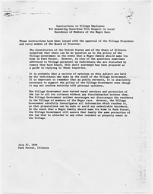 Letter to Park Forest Village employees, 1959