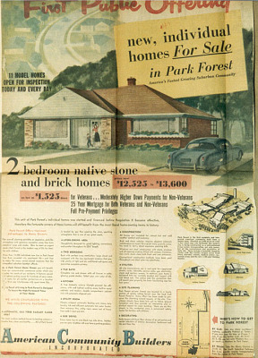 """New, individual homes for sale,"" advertisement, 1951"
