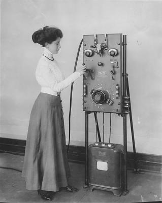 Early model of the GE electric charging station for electric cars.