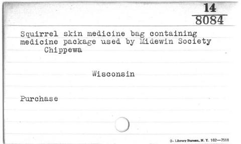Image for Medicine bag and contents for Midewiwin rituals (Image withheld)