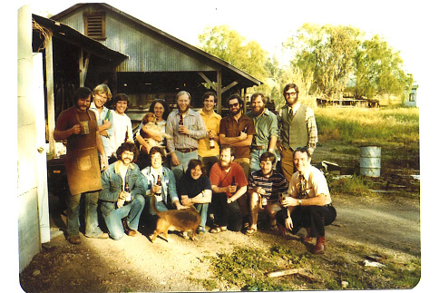 Michael Lewis and his students visiting New Albion Brewing Company in Sonoma, California, around 1976