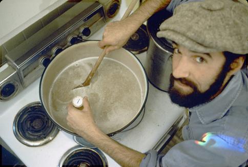 Charlie Papazian brewing, around 1983