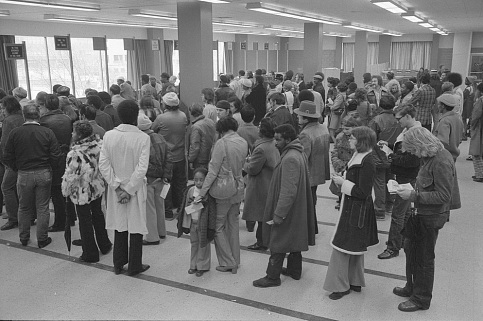 Applying for assistance in Baltimore, 1975