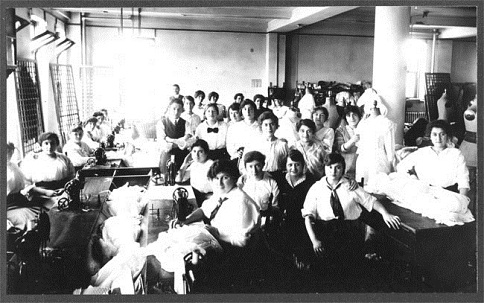 Garment workers at the Triangle Waist Company, 1910; note they're wearing white shirtwaists. A year later, 146 workers died in a flash fire.