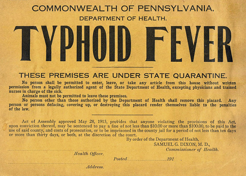 Typhoid fever quarantine notice, 1916