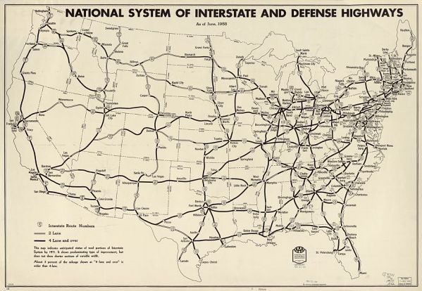 National system of interstate and defense highways. June, 1958.