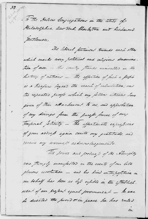 George Washington: Letter to the Hebrew Congregations