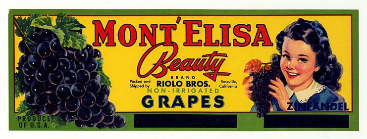 Grape crate label, mid-1900s
