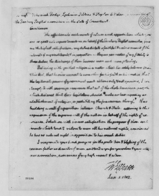 Thomas Jefferson: Letter to the Danbury Baptist Association