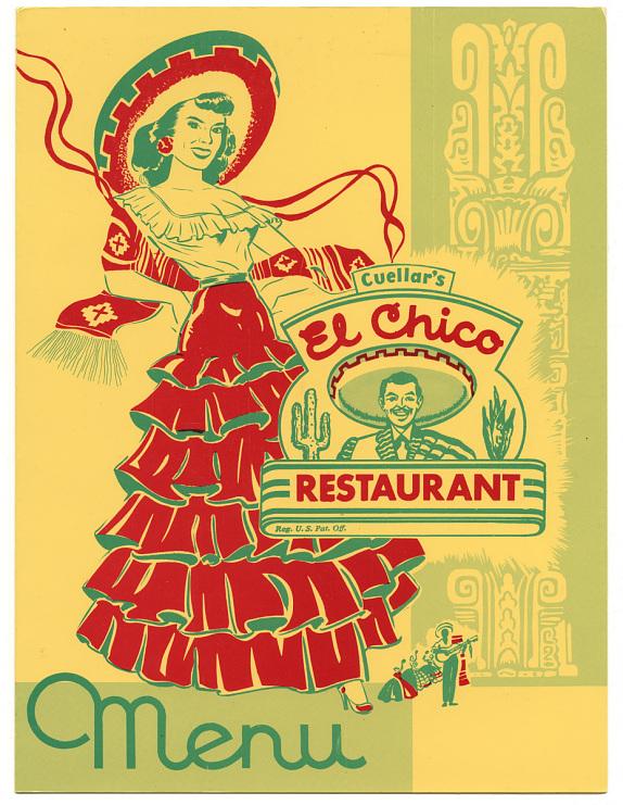 Menu, Cuellar's El Chico Restaurant, 1970s