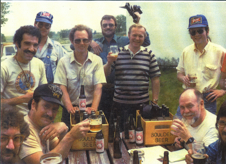 Brewers, writers, and enthusiasts sample an early batch at Boulder Brewing Company, 1981
