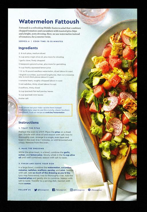Blue Apron watermelon Fattoush recipe card