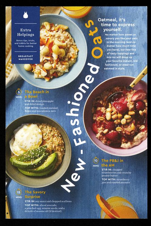 Blue Apron new-fashioned oats recipe card