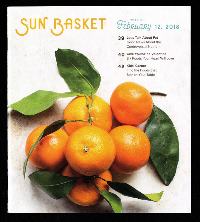 Sun Basket recipe book, Week of February 12, 2018
