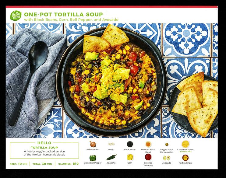 Hello Fresh one-pot tortilla soup recipe card