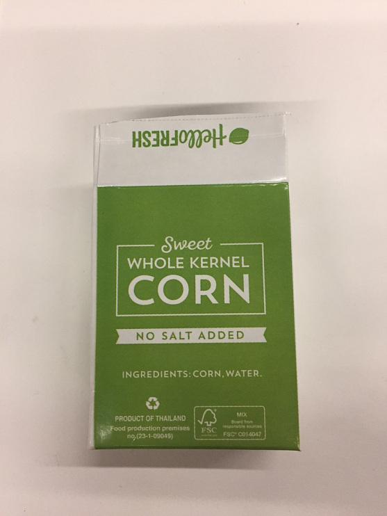 Hello Fresh sweet whole kernel corn packaging