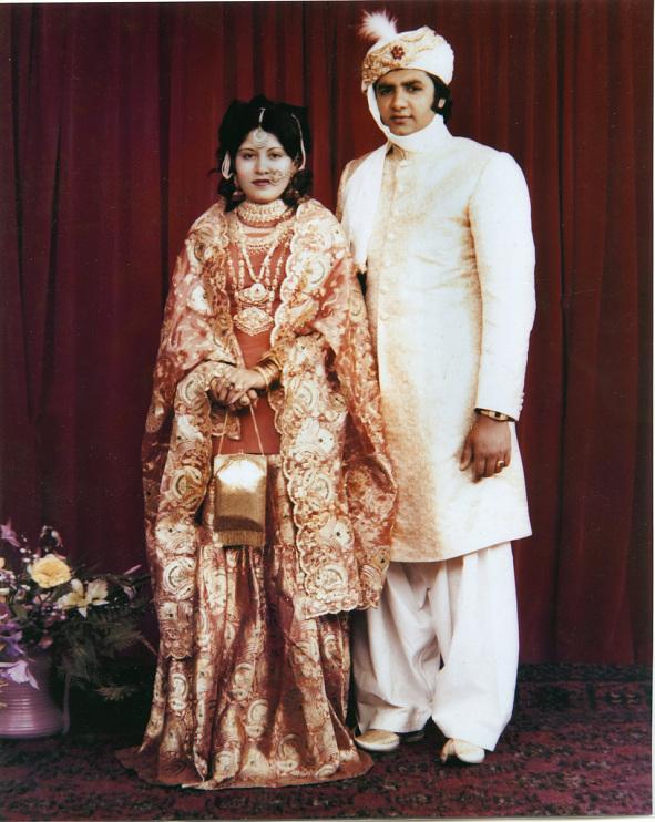 Wedding photo of Ray and Shaista Mahmood, 1976
