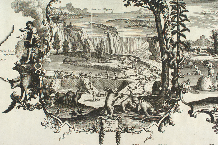 Map showing beaver in the upcountry as imagined by French mapmaker Henri Abraham Châtelain, 1718