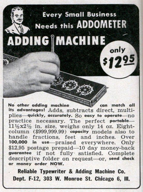 Addometer advertisement, 1947