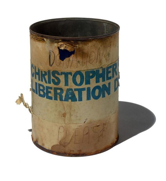 Collection can from Christopher Street Liberation Day march, the first pride parade, 1970
