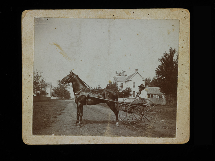 African American man with horse near New Philadelphia, Illinois, 1800s