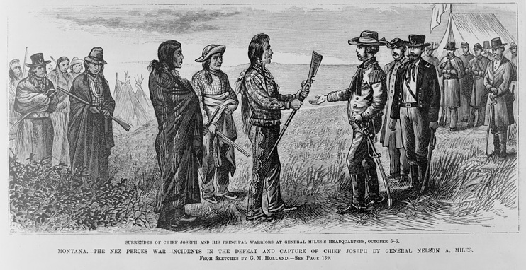 Chief Joseph's surrender to General Miles, Montana Territory, 1877