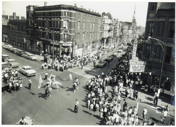 Pilsen intersection during the Mexican Independence Day parade, 1962